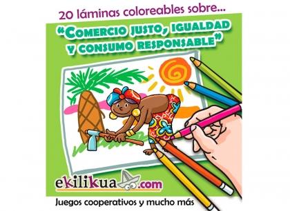 Láminas coloreables con lemas sobre Comercio Justo